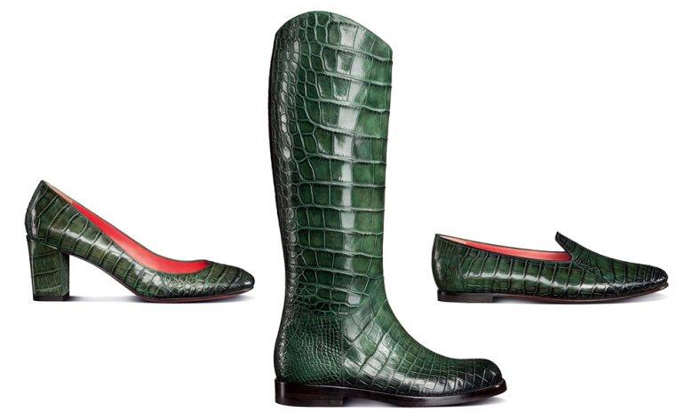 Обувь из зеленой крокодиловой кожи