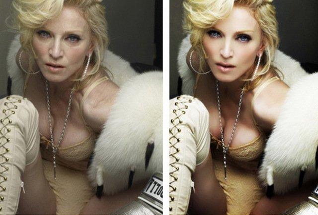 Мадонна до и после ретуши