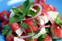 Салат из арбуза, овощей и сыра Фета