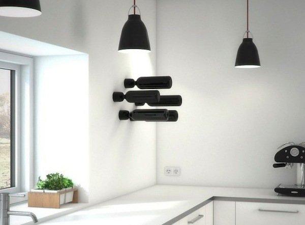 Консольные настенные держатели бутылок с вином от Fiduz Design
