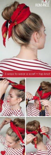 Романтическая прическа с шарфом