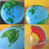 Торт в виде планеты «Земля»