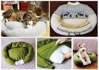Креативная лежанка для животного из старого свитера