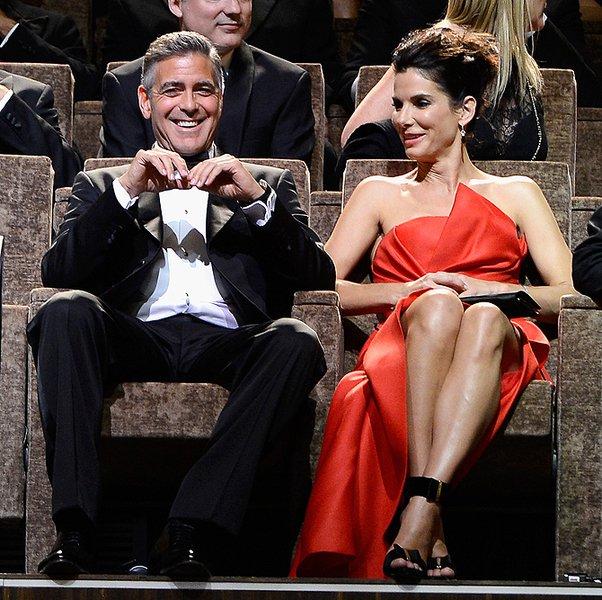 Венеция-2013: Сандра Буллок и Джордж Клуни в зрительном зале