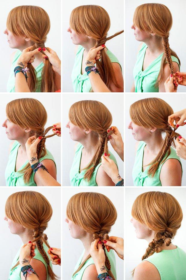 Прическа на осень: коса с бантиком