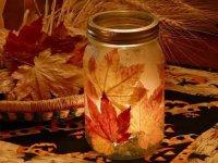 Поделки из листьев: фонарик