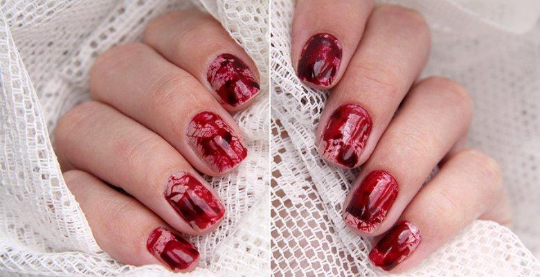 Маникюр на Хэллоуин: кровавые ногти
