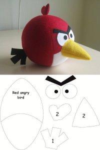 Красный Angry Bird с выкройкой