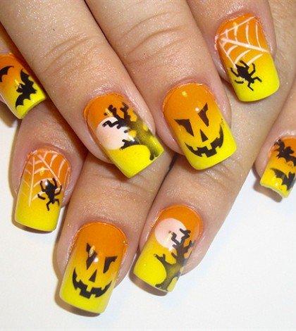 Оранжево-желтая идея маникюра на Хэллоуин