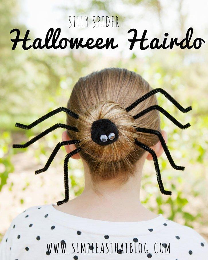 Прическа на Хэллоуин: паук