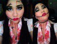 Идея макияжа на Хэллоуин: кровавые швы