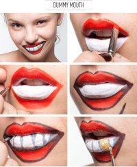 Простая идея макияжа на Хэллоуин: глупая улыбка