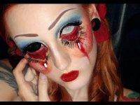 Жуткий макияж куклы на Хэллоуин