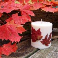 Декупаж свечи осенними листьями