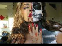 Образ на Хэллоуин: получереп, полукрасавица