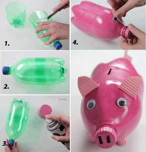 Очаровательная свинка-копилка из бутылки