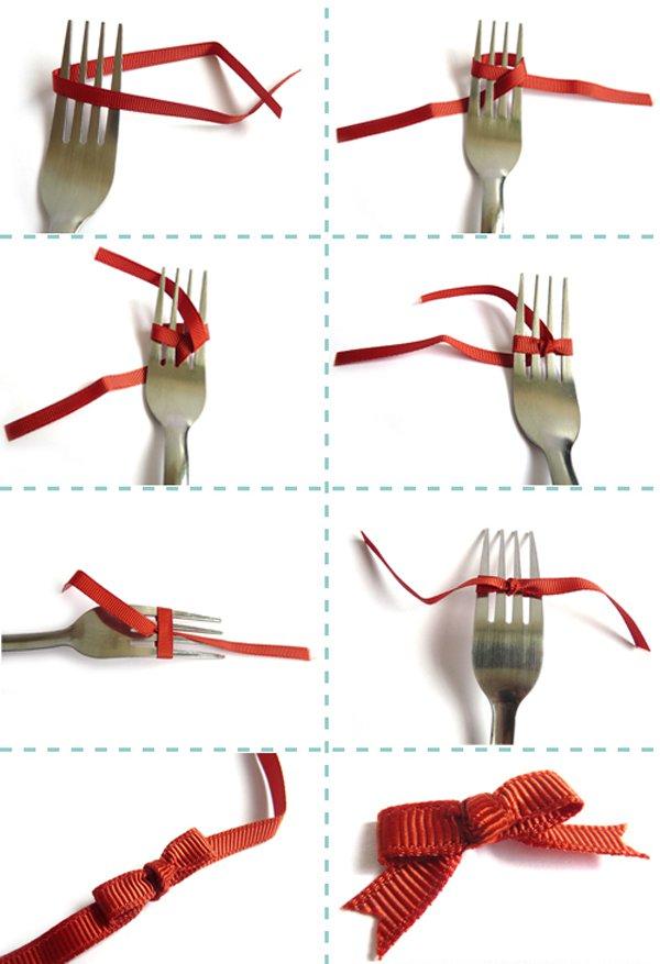 Как завязать бантик на вилке для подарка