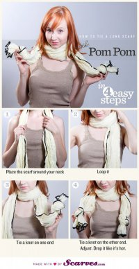 Как завязать шарф: помпоны