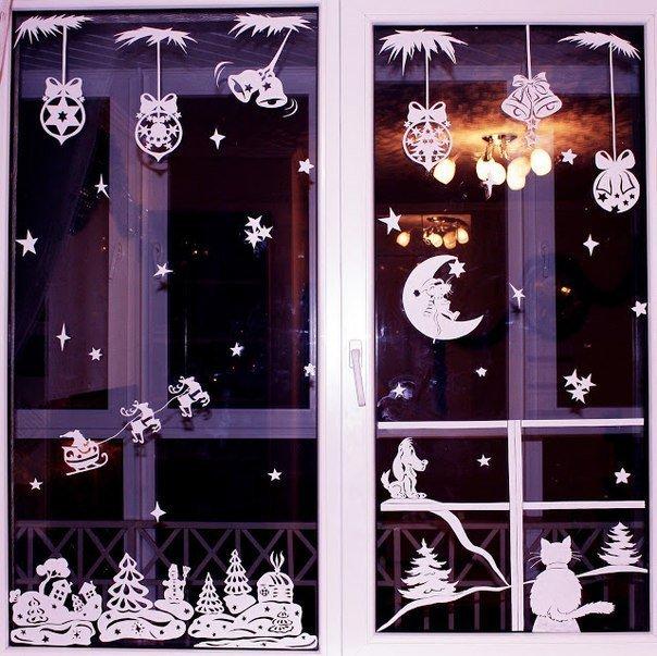 Идея украшения окон на Новый год