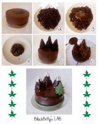 Идея украшения торта: горы и елка