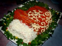 Салат «Варежка Деда Мороза» с красной рыбой