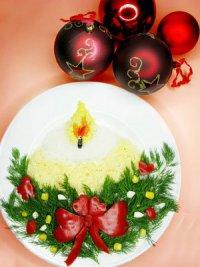 Новогодний салат «Свеча»