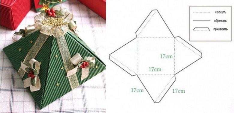 Простая коробочка-пирамидка для новогоднего подарка