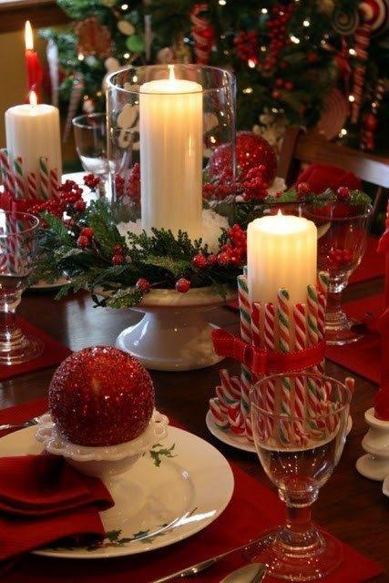 Новогоднее оформление стола при помощи карамельных тростей