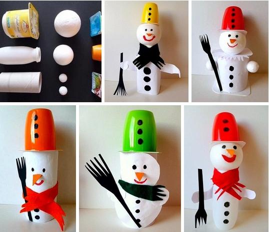 Детские новогодние поделки: снеговики из подручных материалов