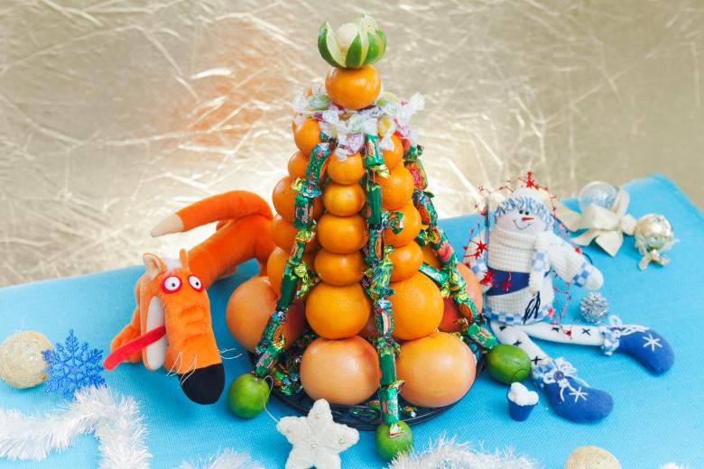 Елка из мандаринов и конфет