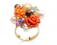 Кольцо с розами nasonpearl