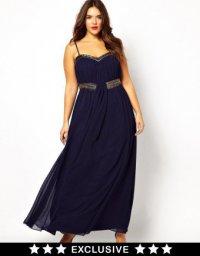 Темно-синее новогоднее платье для полных