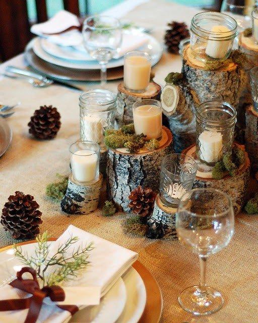 Декор стола на свадьбе зимой