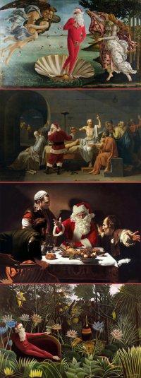 Санта-Клаус попал на известные картины