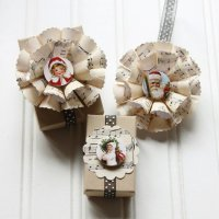 Необычный новогодний бантик из бумаги для украшения подарка