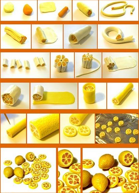Лимонные дольки из полимерной глины