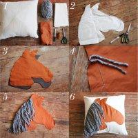 Новогоднее рукоделие: подушка с аппликацией лошади