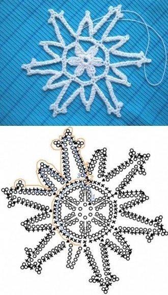 Вязание снежинок крючком: схема 1