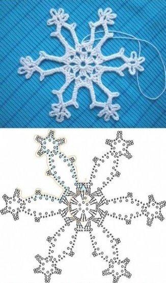 Вязание снежинок крючком: схема 2