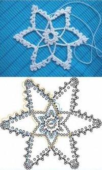 Вязание снежинок крючком: схема 3