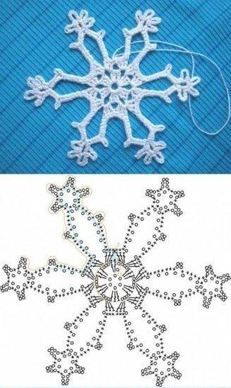 Вязание снежинок крючком: схема 5