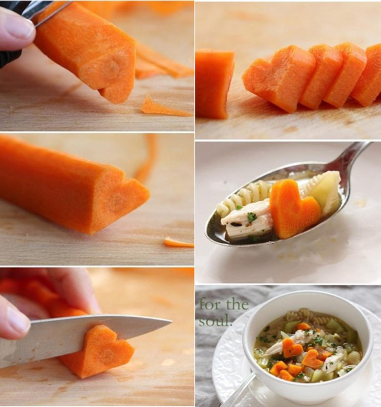 Сердечки из морковки на День святого Валентина