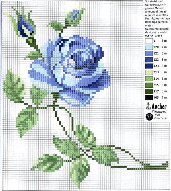 Вышивка голубые цветы схемы