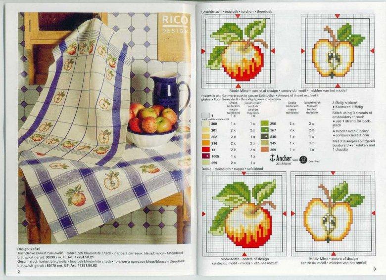 Схема вышивки крестом «Кухонные мотивы: яблоко»