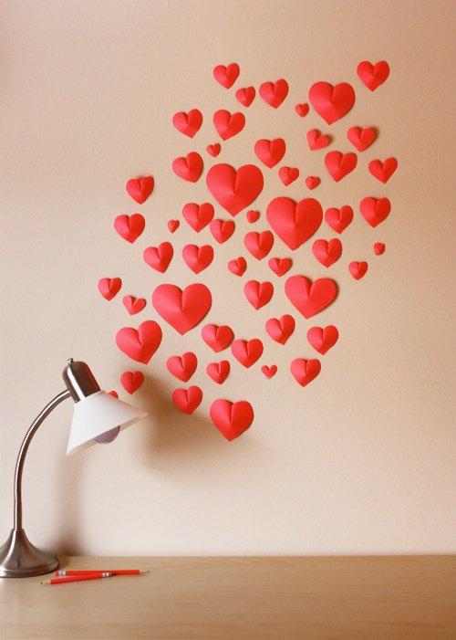 Объемные сердечки из бумаги на День святого Валентина