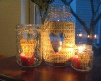 Романтические подсвечники из банок на День святого Валентина