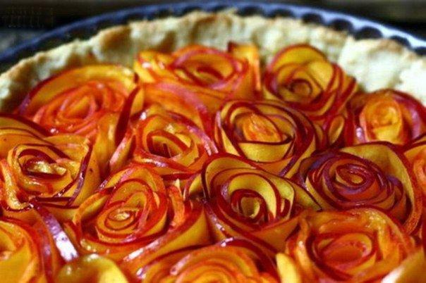 Как сделать розы из яблок для торта