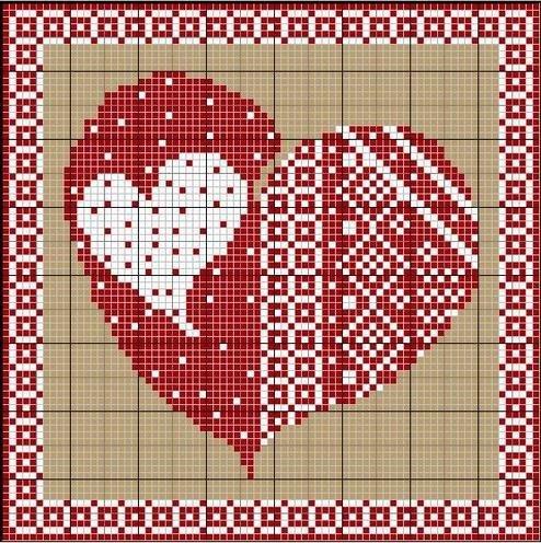 Схема вышивки сердечка на День святого Валентина