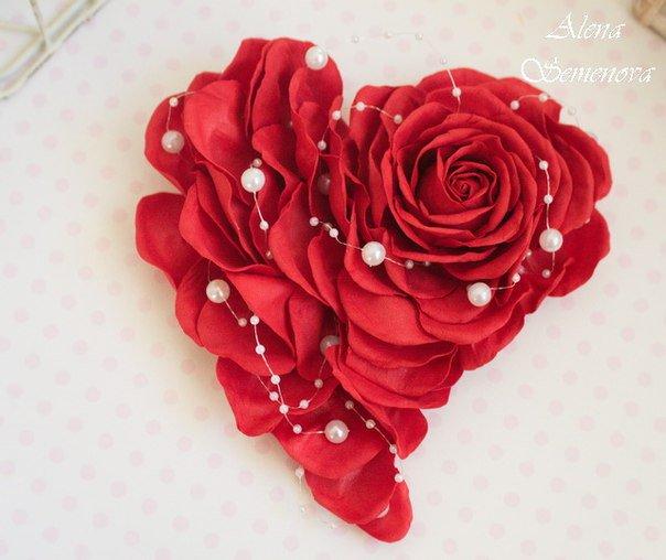 Валентинка-роза из фоамирана