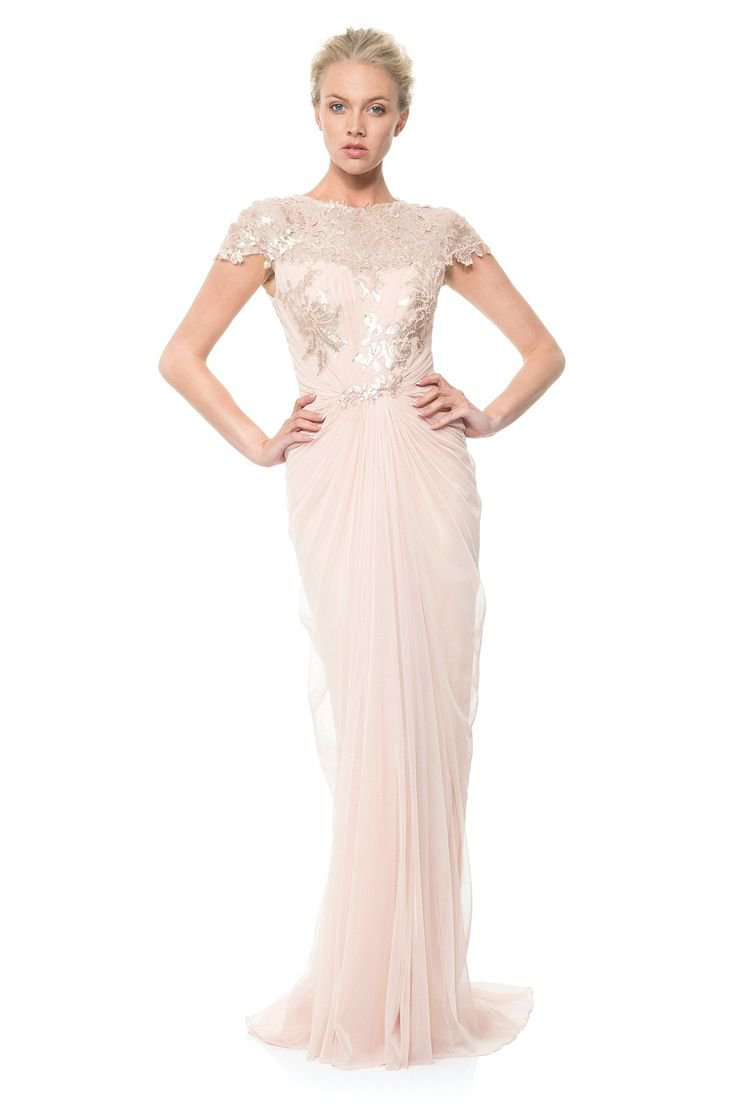 Розовое платье от Tadashi Shoji: Paillette Embroidered Gown
